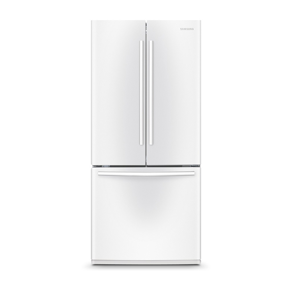 Samsung 21 6 3 door french door refrigerator white for 6 ft wide french doors
