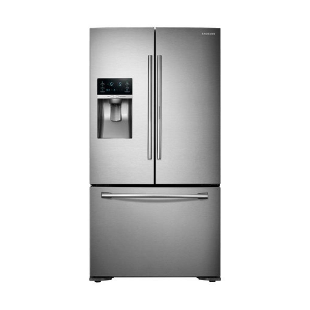 Samsung 22 5 3 door french door refrigerator ss for Three door french doors